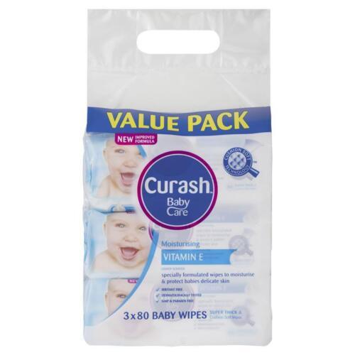 CURASH BABY WIPES MOISTURISING VITAMIN E 3 X 80 VALUE PACK DELICATE SENSITIVE