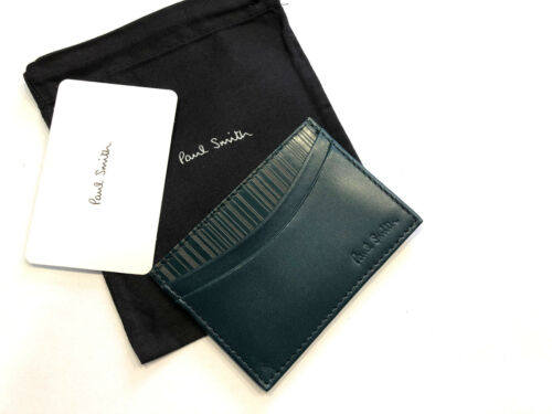 Paul Smith Credit Card Holder SIGNATURE STRIPE LASER ETCHED Made in Italy