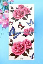 US Seller-cool small wrist tattoo butterfly rose flower temporary tattoo sticker