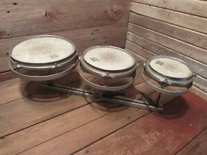 """Vintage Set Remo Roto Tom drums Sizes Are 6"""" 8"""" And 10"""" Drums"""