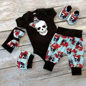 7317c6b8b 4PCS Newborn Infant Baby Boy Girl Skull Clothes Romper Bodysuit+ ...