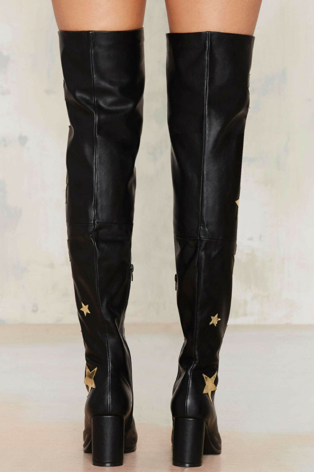 NEW NASTY GAL NON BLONDE  190 BLACK RENEGADE OVER OVER OVER THE KNEE BOOTS SHOES SZ 6 953860