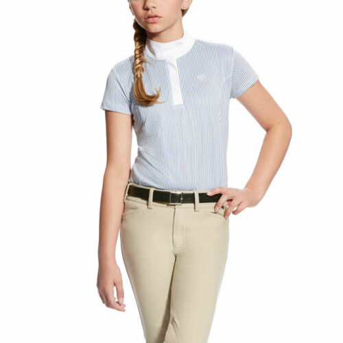 Ariat Aptos Girls Show Shirt White And Blue Stripe