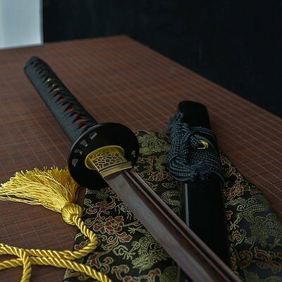 full tang red damascus blade Unokubi-Zuri japanese Katana samurai real sword