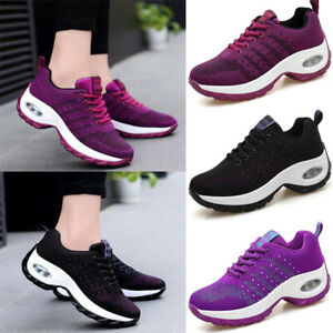 Womens-Lace-Up-Breathable-Sneakers-Trainers-Sports-Gym-Air-Cushion-Walking-Shoes