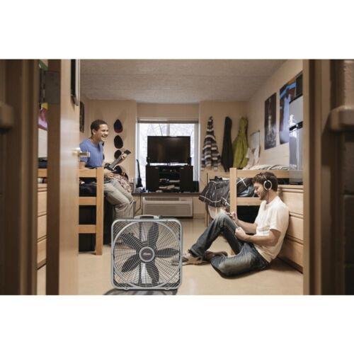 Lasko 20 in Power Plus Box Fan 3-Speed Floor Steel Indoor Built-in Carry Handle