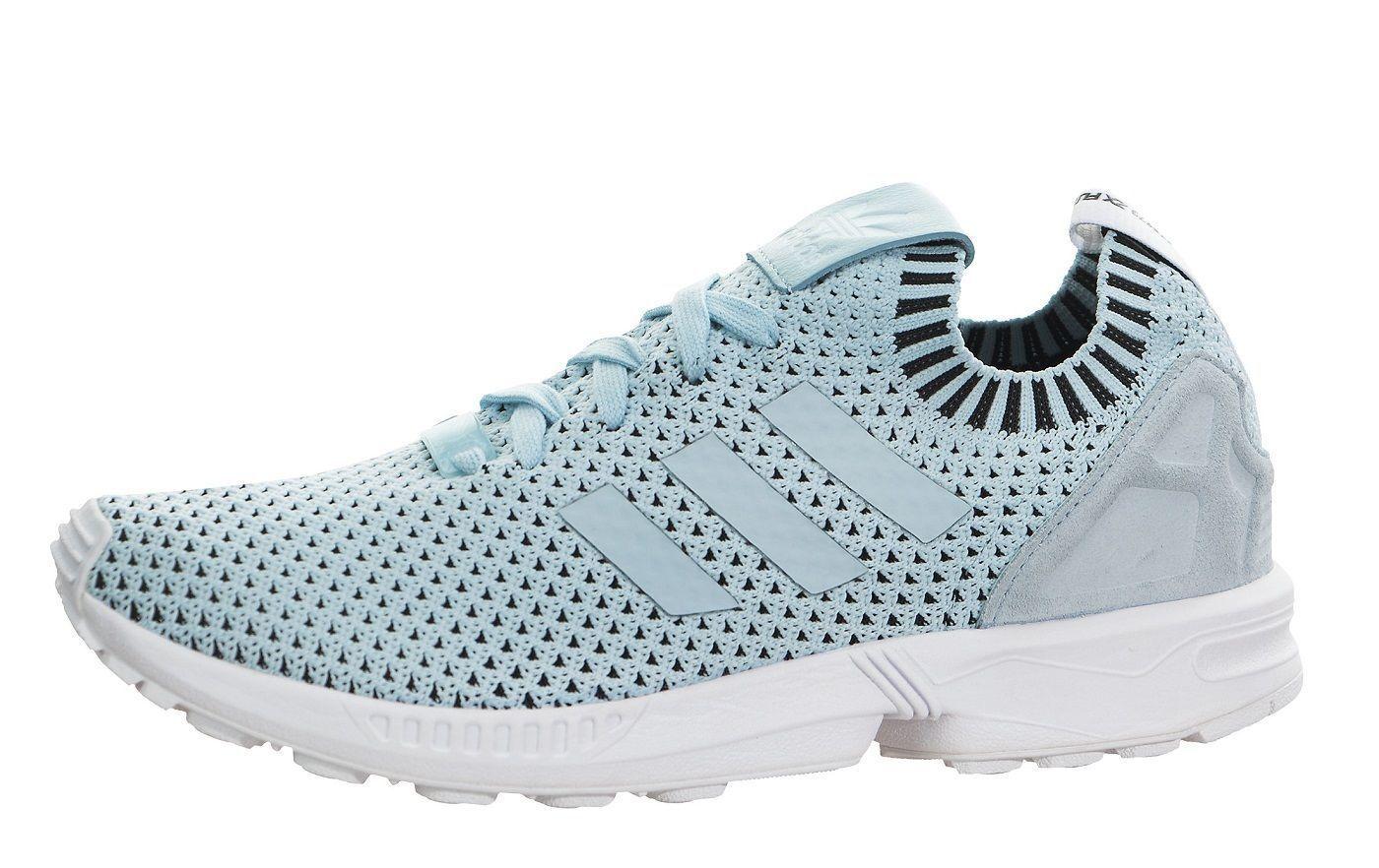 adidas Originals Zx Flux PK Primeknit Ice Blue Casual Shoes Sz 8.5 S75973