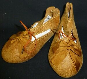105mm-LB-REAL-LEATHER-SHOES-for-ANTIQUE-DOLL-034-Jumeau-034-Shoes-Dollmaking
