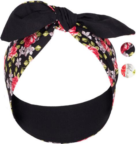Küstenluder ISALINE Plain Black ROSEN Floral Retro HAARBAND Hair Band Rockabilly
