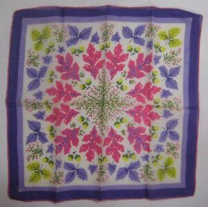 Vintage-Ladies-Hankie-Unused-ASSORTED-FALL-LEAVES-in-Rare-Pink-Purple-Lime-Green