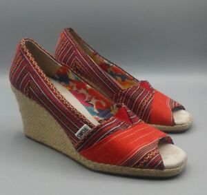 a3575844495 TOMS - CALYPSO - Red Canvas Peep Toe High Wedge Espadrille Sandals ...