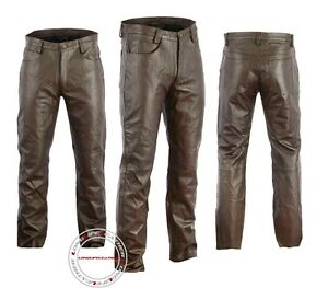 30 Size Mens Thick Brown Leather Pant 5 Pockets Jeans Style Straight Legs Model