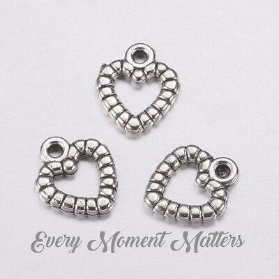 25 x Tibetan Silver HEART HOLLOW ROPE FRAME HEART 3D Charms Pendant Bead