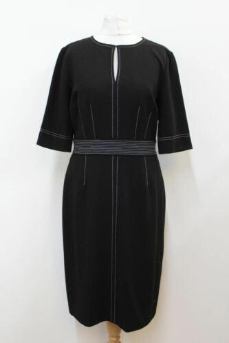 Hobbs Femme Noir Extensible Crêpe Manches 3//4 foi Shift Robe Taille UK12 Neuf