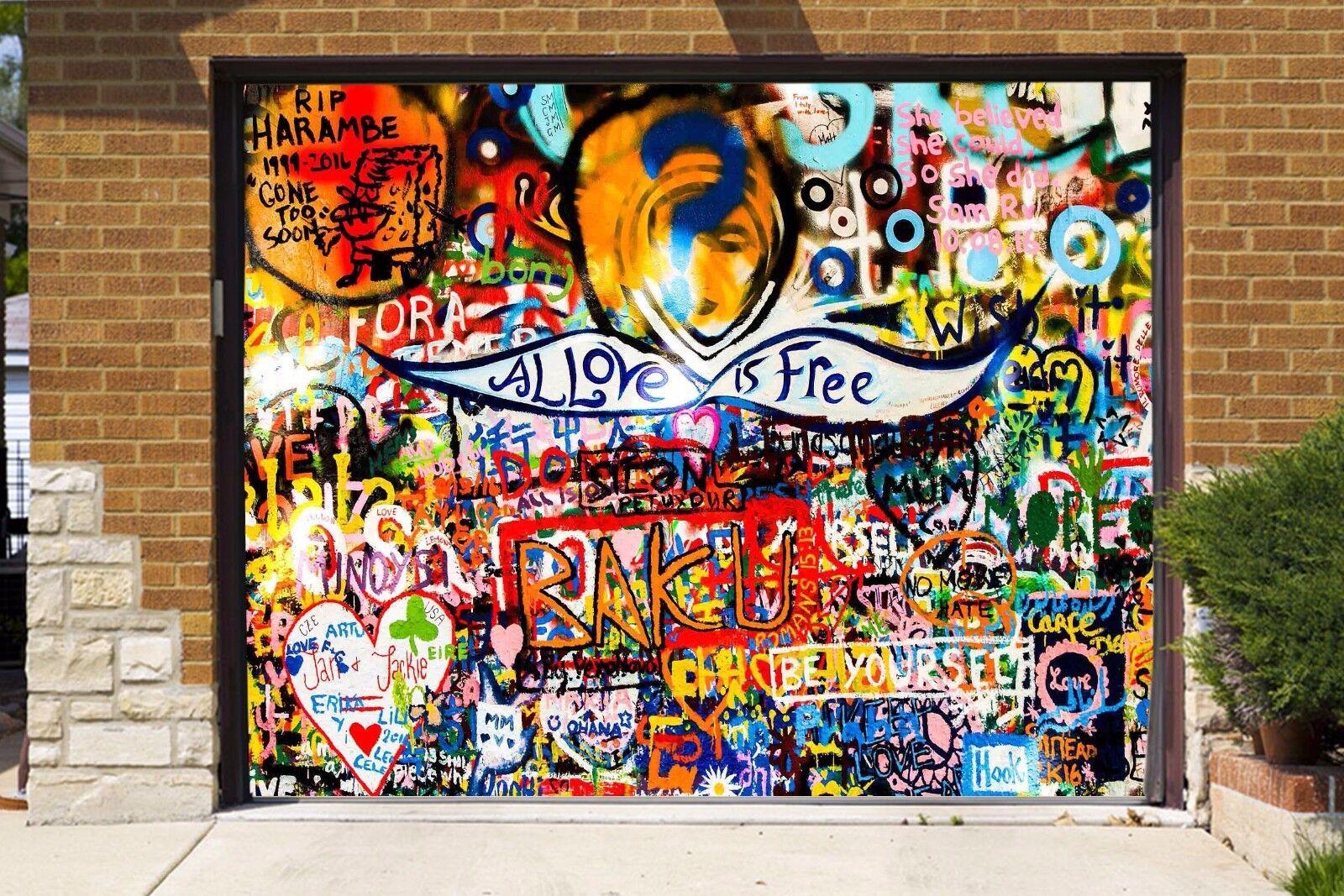 3D Graffiti 400 Garage Door Murals Wall Print Decal Wall AJ WALLPAPER AU Lemon