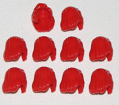 LEGO LOT OF 10 NEW RED SHOULDER LENGTH GIRL FEMALE HAIR PIECES