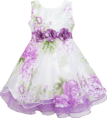 Sunny Fashion Girls Dress Tulle Bridal Lace With Flower Detailing Purple 4-14