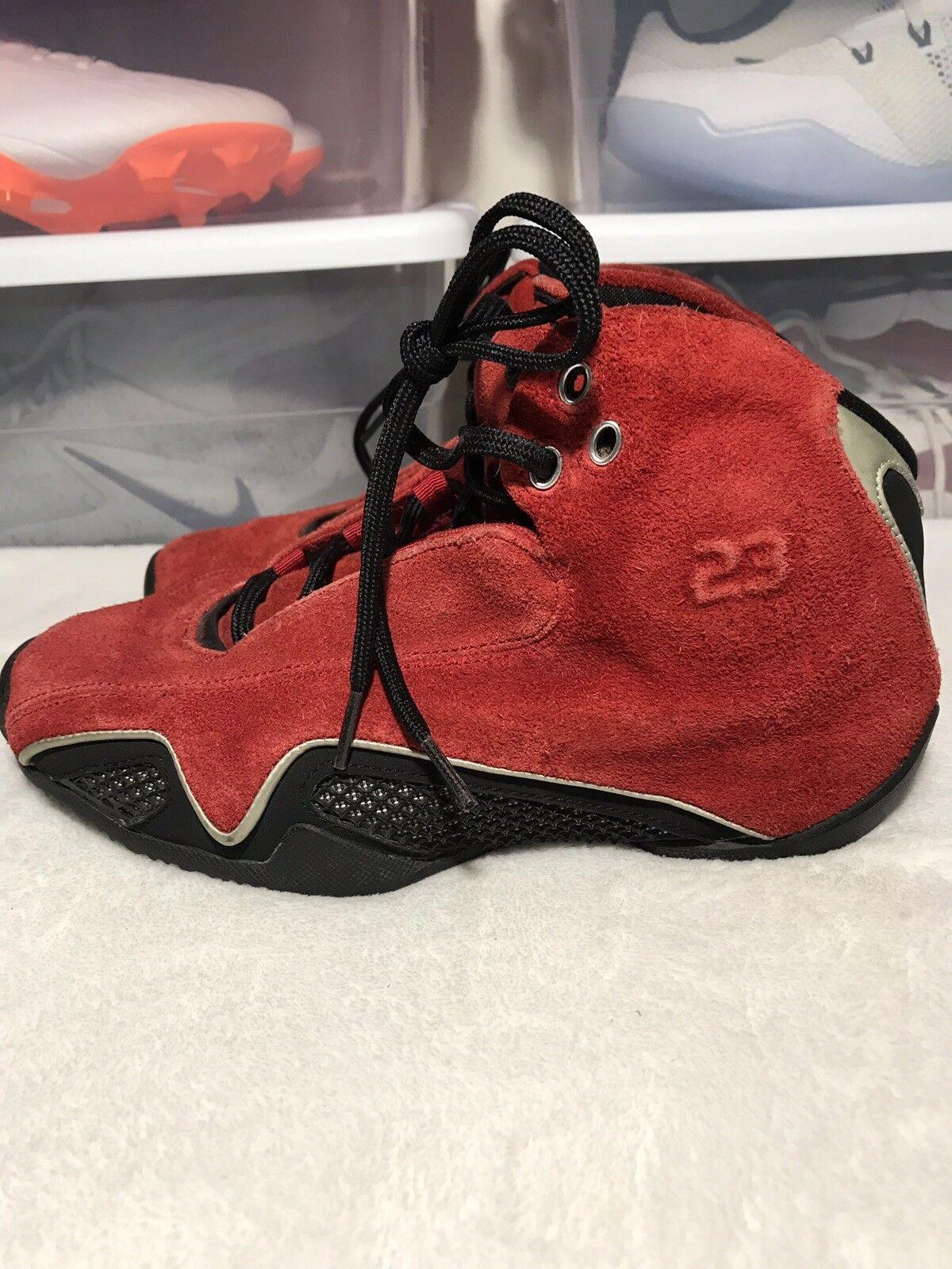 "Nike Air Jordan 21 XXI ""Red Suede"" 2006 Size 4.6y Tgold Ferrari Bulls"