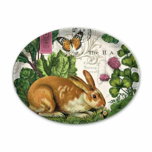 New In Box! Michel Design Works Garden Bunny Glass Soap Dish