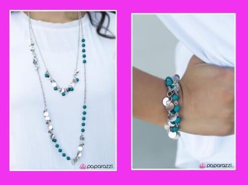 Paparazzi 2pc Set Necklace /& Matching Earrings /& Bracelet T1B1A Blue