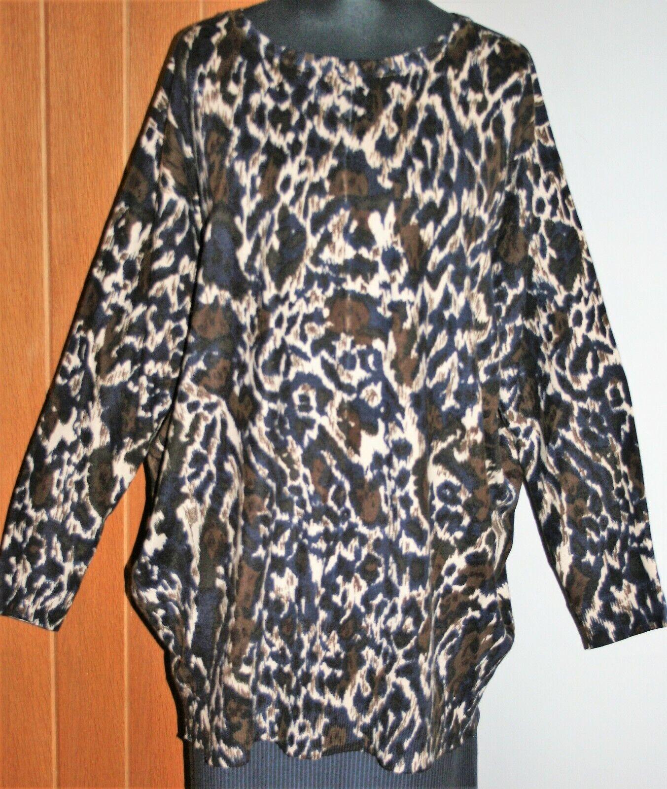 M&S M&S M&S Maglione Taglia più 60  Busto 18 Marronee Blu Nero Beige Lunga Ampia Batwing manica 7d9acc