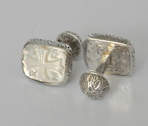 Konstantino-Mens-Cufflinks-MOP-Intaglio-Carved-Cross-Sterling-Silver-New-Classic