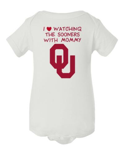 Oklahoma Sooners Watching With Mommy Baby Short Sleeve Bodysuit