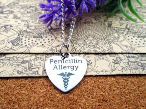 "2 x Stainless steel medical alert  allergy  /"" penicillin allergy /"" heart pendant"