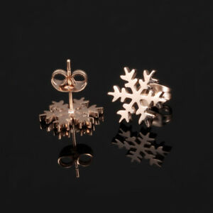 Smooth-amp-Frosted-Snowflake-Rose-Gold-GP-Surgical-Stainless-Steel-Stud-Earrings