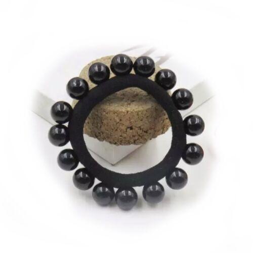 Large Pearl Beaded Hair Scrunchie Bun Garland Headband Bead Band Crown Ponio 320