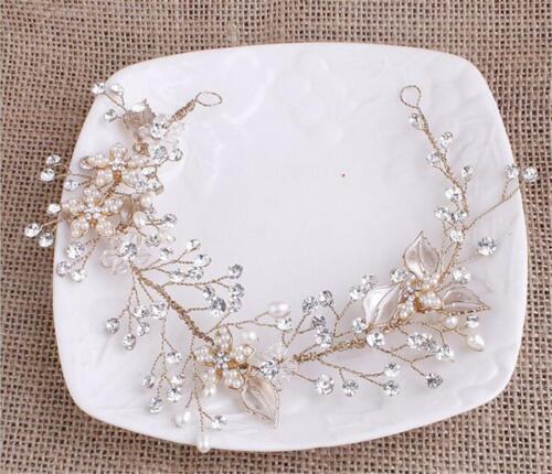 Gold Bridal Bandeau Cristal Cheveux Serre-tête Strass Mariage Coiffure 1 pièces