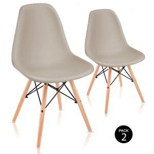 2 Sillas beige de diseño retro estilo RCD-7189 pack 2 sillas -Mchaus