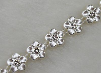 10mm Ivory Flower Pearl Rhinestone Chain Trims Sewing Wedding Decoration LZ107