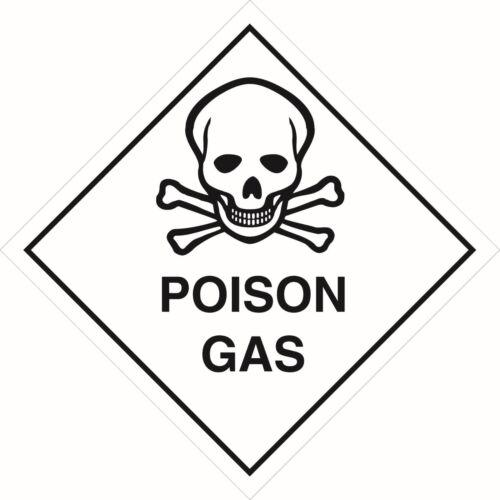 Health and Safety Hazard Sticker Poison Gas Sticker white
