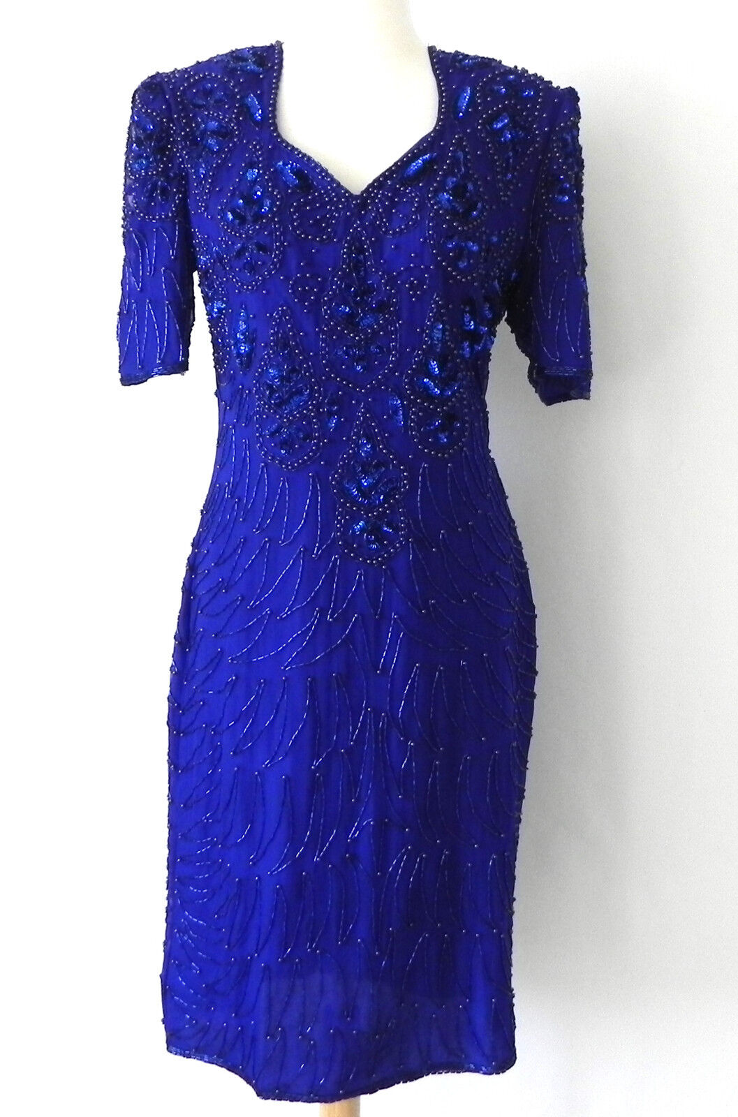 Vtg Mark&John by Sam Sequin Beading Dress 100% Silk Blau Short Sleeve Größe M