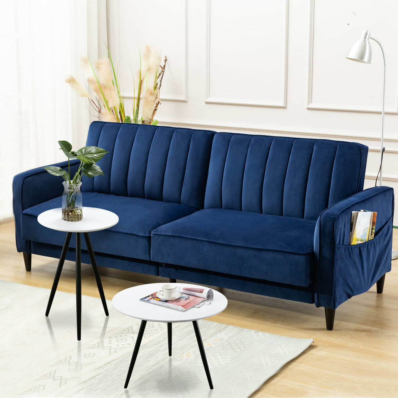 Modern Living Room Sofa Tufted Velvet Fabric Sofa Bed Leisure Recliner  Chair New