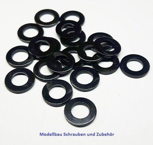 schwarz 10-50 Stück Stahl Unterlegscheiben für M3 DIN 125