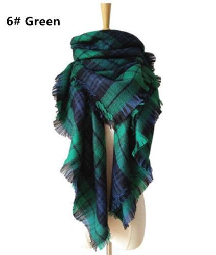 Women Long Oversized Blanket Tartan Scarf Wrap Shawl Plaid Cozy Checked Pashima