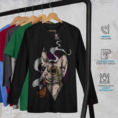SPHYNX FUMO COOL CAT Uomo Manica Lunga T-shirt Nuovewellcoda