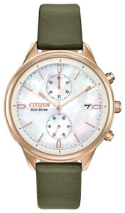 Citizen-Eco-Drive-Women-039-s-Chronograph-Rose-Gold-Tone-Case-39mm-Watch-FB2008-01D