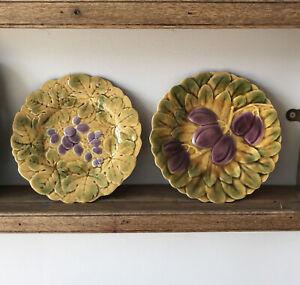 Vintage Par francés placas de mayólica PV uvas 19cm en muy buena condición