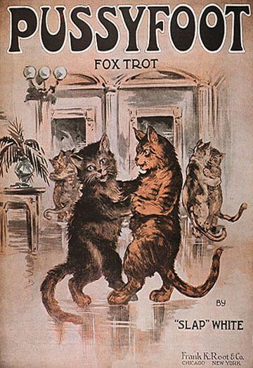 CAT PUSSYFOOT BALLROOM DANCING FOXTROT DANCE VINTAGE POSTER REPRO