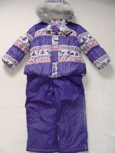 NWT Girls Zero XPosur Snowsuit Size 4 Purple Jacket Coat Bibs Ski Snow Pants NEW