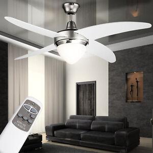 Decken-Ventilator-122-cm-Fluegel-Luefter-Kuehler-Weiss-mit-FERNBEDIENUNG-Beleuchtung