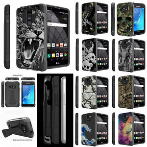 For-LG-Phones-Heavy-Duty-Shock-Hybrid-Dual-Stand-Case-Skull-Camo-Tree-Tribal