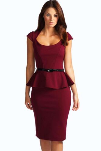 New Boohoo Keeley Peplum Belted Midi Dress Party Xmas Work Dress UK 6 DM61