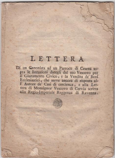 GIO.DUGARIA-LETTERA DI UN CANONISTA AD UN PARROCO DI CESENA 1799-L1614