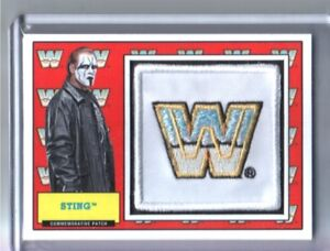 WWE-Sting-2017-Topps-Heritage-WWF-Com-Patch-Relic-Card-SN-108-of-299