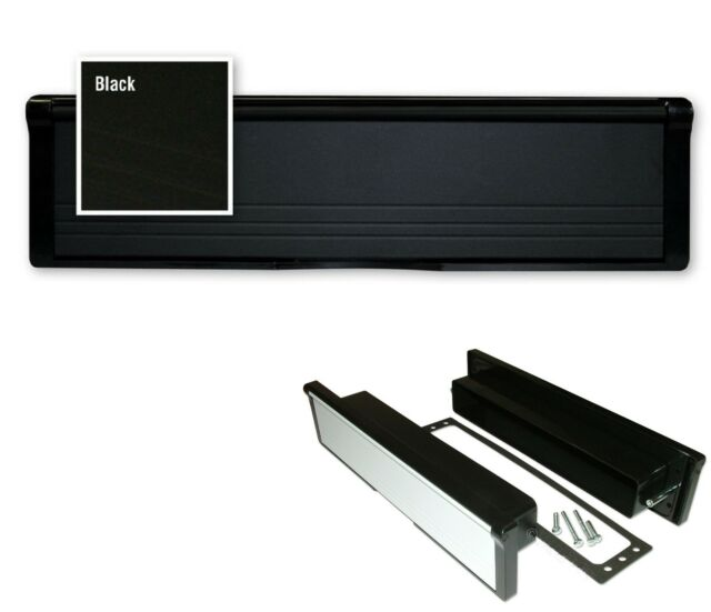 """Modern 12"""" Inch BLACK Letter BOX LetterBOX With Brushes UPVC D9"""