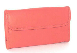 Mili-Designs-NYC-Seychelles-Coral-Leather-Jewelry-Roll-Clutch-New-In-Tag-Pkg
